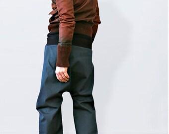 Blue  drop crotch jeans,  low crotch pants ,baggy jeans, denim harem pants, drop crotch denim, unisex harem pants, urban harem pants
