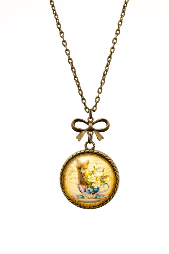FREE SHIPPING - **NEW** Fox In A Teacup 30mm Bronze Lace & Bow Pendant Necklace - Unique - Vintage - Gorgeous Gift - Love