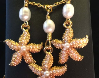 Necklace and Earring Set - Gold and Freshwater Pearl Starfish Necklace and Earring Set - FREE SHIPPING