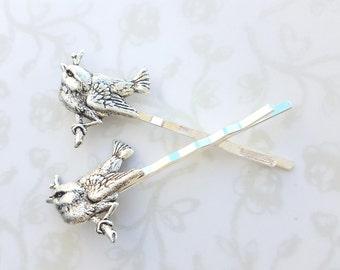 Silver Bird on Branch Hair Pins, Set of Two, Woodland, Swallow, Robin, Lark, Nest, Feather, Nature, Garden Wedding, Bridal Hair, Boho,