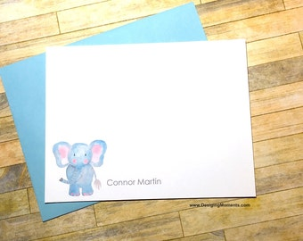 Elephant Watercolor Thank You Cards - Custom Stationery - Personalized Thank You Cards - Kids Stationery - Watercolor Elephant Notes DM490