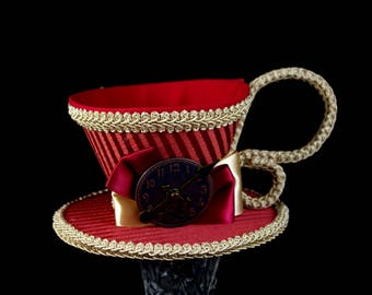 Dark Red and Toffee Striped with Clock Face Tea Cup Fascinator Hat, Alice in Wonderland Mad Hatter Tea Party, Derby Hat