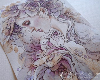 Original Art 5 x 7 Inches - Weeping Rose - Woman in Roses in Soft Lavender Hues - Mixed Media Fantasy Illustration - by Mitzi Sato-Wiuff
