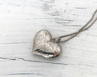 Large Vintage Puffed Heart Necklace | Engraved Necklace | Romantic Jewelry | Gift for Girlfriend | Sterling Silver Charm Necklace Pendant