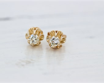Dainty Diamond Earrings | 14k Yellow Gold Earrings | Buttercup Earrings | Vintage Diamond Studs | April Birthstone Jewelry | Tiny Earrings