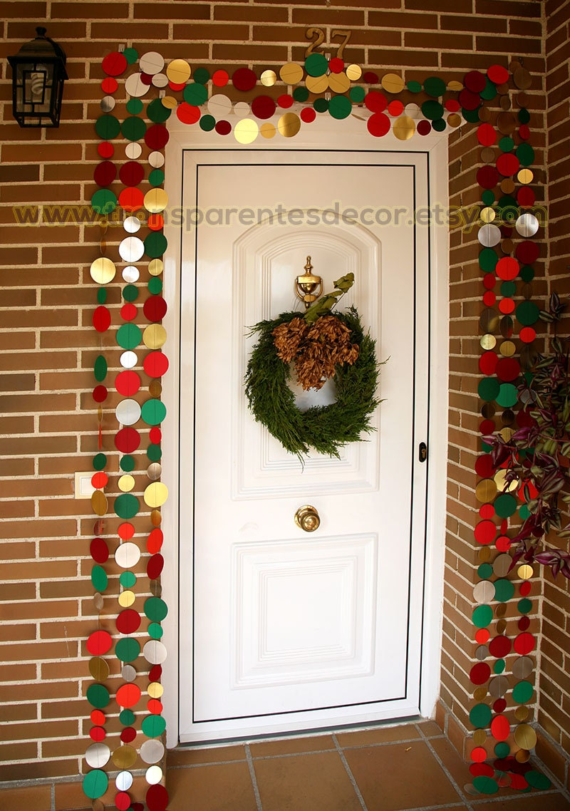Gold red green garland christmas door decor front door for 180 degrees christmas decoration