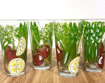 Bloody Mary Glass - The Perfect Bloody Mary Hand Painted Glass