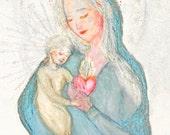 "Carte postale d'art ""Sursum corda"", illustration Vierge Marie et enfant Jésus, image sainte/ pieuse/ religieuse/ Noël, Olga Valeska"