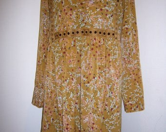 Floral Print Curry Cotton Bohemian Dress.