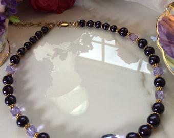 Lovely in Lavender-Deep Purple Swarovski Pearls and Vintage Lavender Crystal Bead Necklace