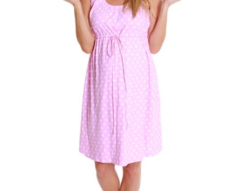 Maternity - Labor - Nursing Gown 3 in 1 Baby Be Mine Pink Dotted Birthing Hospital Gown
