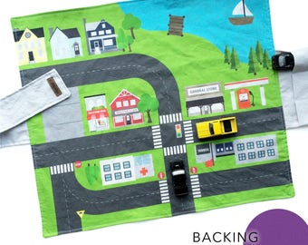 City Travel Car Mat - Magenta | Kids Travel Activity | Play Car Mat