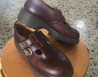 Dr. Martens Made In England 8065/92 Double Strap Mary Jane in Brown