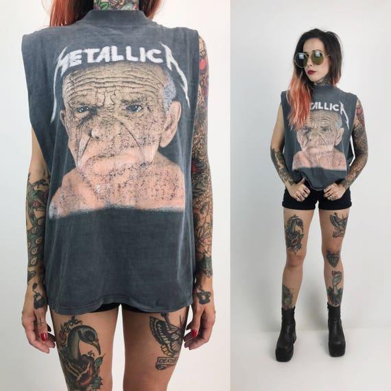 RARE 1991 Metallica Tour Shirt Large - Vintage Faded Charcoal Metal Band Sleeveless Tee - Old Man Metallica Tour Tee Off To Never Never Land