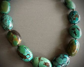 CHUNKY TURQUOISE BEADED Necklace / Sterling Toggle Clasp / 18 inches / One of A Kind