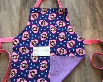 Toddler Princess apron, made from licensed fabric.