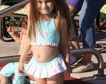 Swim suit, Toddler swim Suit, Monogrammed Aqua swim Suit, 2 Piece