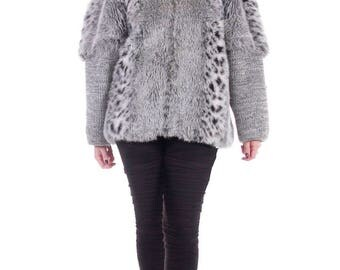 Vintage Faux Fur Coat Snow Leopard Chubby Oversized 80s Shaggy Sweater Retro Winter Jacket Women Size Large / XL