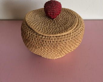 Small Basket with Lid and Red Accent