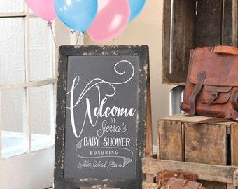 Double Sided Chalkboard - Baby Shower Sign - Custom Chalkboard