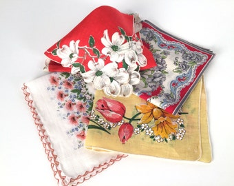 Vintage 50s Floral Hankies, Hanky Set, Tulips, Daffodils, Dogwood, Carnations, Cotton, Linen, Burmel, Set of 4, Mid Century Handkerchiefs