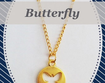 Gold plated necklace with butterfly pendant