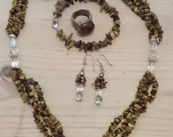 Vintage tigerseye gemstone necklace and earrings set with a bracelet and ring