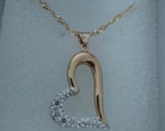 Vintage sterling silver gilded heart pendant and chain