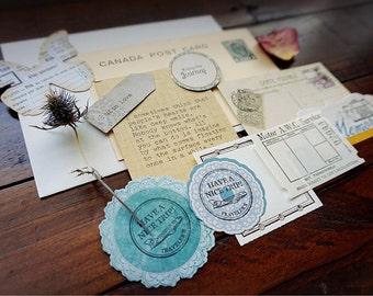 Handmade, curated paper bundle.  Paper ephemera.  Vintage paper. Scrapbooking goods. Stationery.
