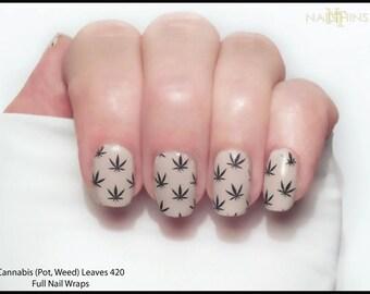 Marijuana nail art etsy pot leaves nail decal weed cannabis 420 full nail wrap nail decal by nailthins prinsesfo Image collections