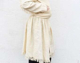 issey miyake creamy wool fringe jacket