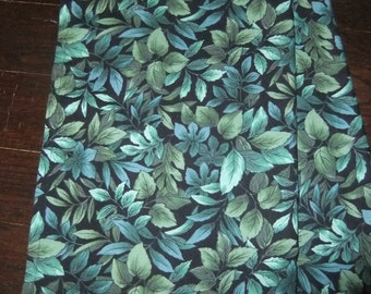 Green Leaves on Black Background Hemmed Cotton Kitchen Towels, Pair