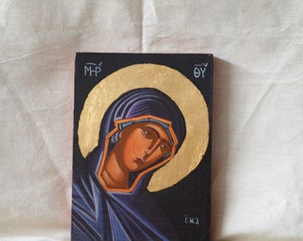 Byzantine contemporary Theotokos- black Madonna -hand painted eggtempera wall plaque religious painting sacred art and Greek  hagiography