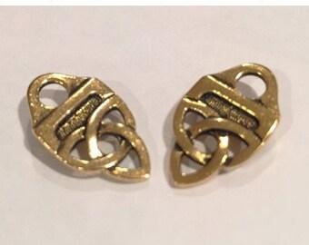 SALE:  1 Set TierraCast Antiqued Gold Celtic Knot Strap Tips, Flat leather clasp, rivet clasp, KT-10F-C