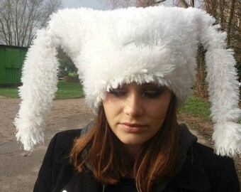 Shaggy Glittery Off White Marshmallow Hat with Polar Fleece Lining