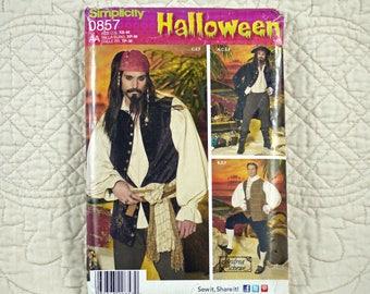 Men, Pirate Colonial, XS S M, Costume Pattern, Simplicity 0857, Andrea Schewe, Knee Breeches, Flare Coat, 2012 Uncut, Size 30 32 34 36 38 40