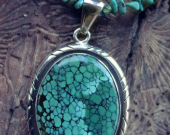 Superb Charles Albert Turquoise Sterling Pendant on Handcrafted Turquoise Bead Necklace 40.1 gm