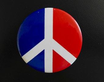 Oversized Vintage Peace Symbol Button, 1968 Anti-War Button, Protest Button