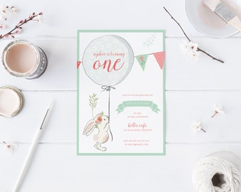 DIY Printable Bunny Rabbit Birthday Invitation in Pink, Mint Green and Blue