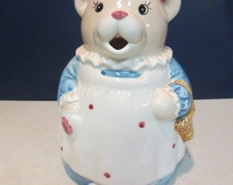 Adorable Whimsical Little Girl Bear Pitcher Carrying a Basket