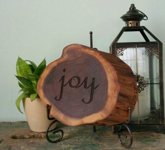 Joy- Engraved walnut slab- Christmas Home Decor
