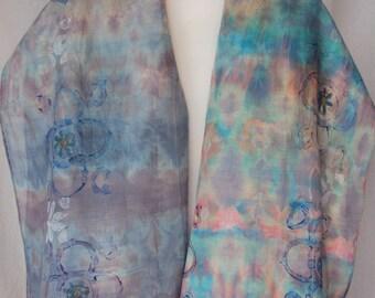 Scarf-shawl-hand-dyed and printed scarf Handmade wool-silk