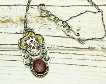 Sugar Skull Pendant Necklace Ruby Silver and 22k Gold Day of the Dead Necklace