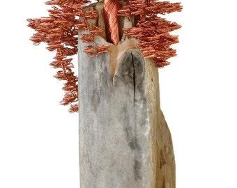 Wire Tree Sculpture | Driftwood Sculpture | Bonsai Tree | Wire Tree | Metal Sculpture | Copper Sculpture | Home Decor | Driftwood Art