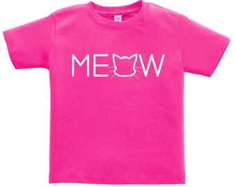 Kids Clothing, Kids Shirt, Toddler, Funny T Shirt, Cat Tshirt, Meow Tee, Meow T Shirt, Youth, Childrens Clothes, Ringspun Cotton
