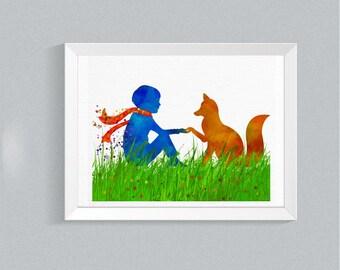 Little Prince Fox Print Le Petit Prince Fox artwork for home print Nursery Decor Watercolor print baby shower gift baby wall decor  {65}