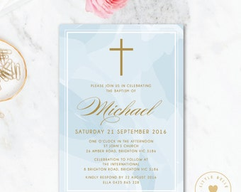 Boy Baptism Invitation Printable / Boy Christening Invite / Cross / Blue / Watercolor