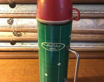 Vintage & Rare Red Cap Holiday Thermos with Metal Handle