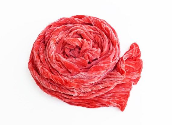 """Coral velvet scarf, luxe fashion, velvet, velvet scarf, coral, coral pink, peach, pink, hand dyed, 13""""x59"""", luxe, ready to ship, in stock"""