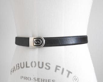 80s, 90s vintage belt - black leather belt silver buckle - 80s/90s Miss M belt